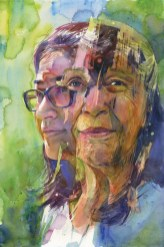 "Joanna Barnum, Generations, 15x 22, watercolor, 2017. Created for MSPP's exhibit ""Face-to-Face: The Evolving Story of Sandy Spring"", Sandy Spring Museum: a portrait of two residents of Sandy Spring who volunteered to participate in the collaboration."
