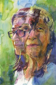 """Joanna Barnum, Generations, 15x 22, watercolor, 2017. Created for MSPP's exhibit """"Face-to-Face: The Evolving Story of Sandy Spring"""", Sandy Spring Museum: a portrait of two residents of Sandy Spring who volunteered to participate in the collaboration."""