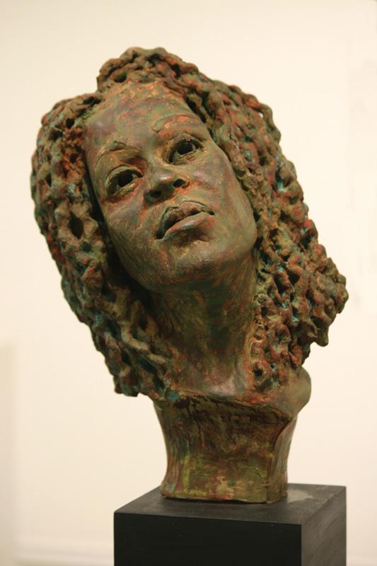 Lesa Cook - Elpis is Alive, terra cotta sculpture, 5x16x7