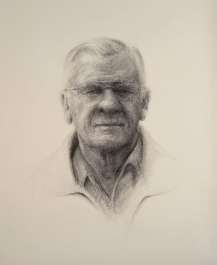 """Melissa Gryder - Paps, oil, 24x18. This portrait of the artist's grandfather is the first in a series of portraits of Maryland farmers. The project entitled """"Farm Crisis"""" is meant to bring attention to the dying tradition of family farms in Maryland."""