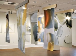 Glass Transformed- 7 archival inkjet prints on silk, silk organza, and polyester Image courtesy of Celia Pearson