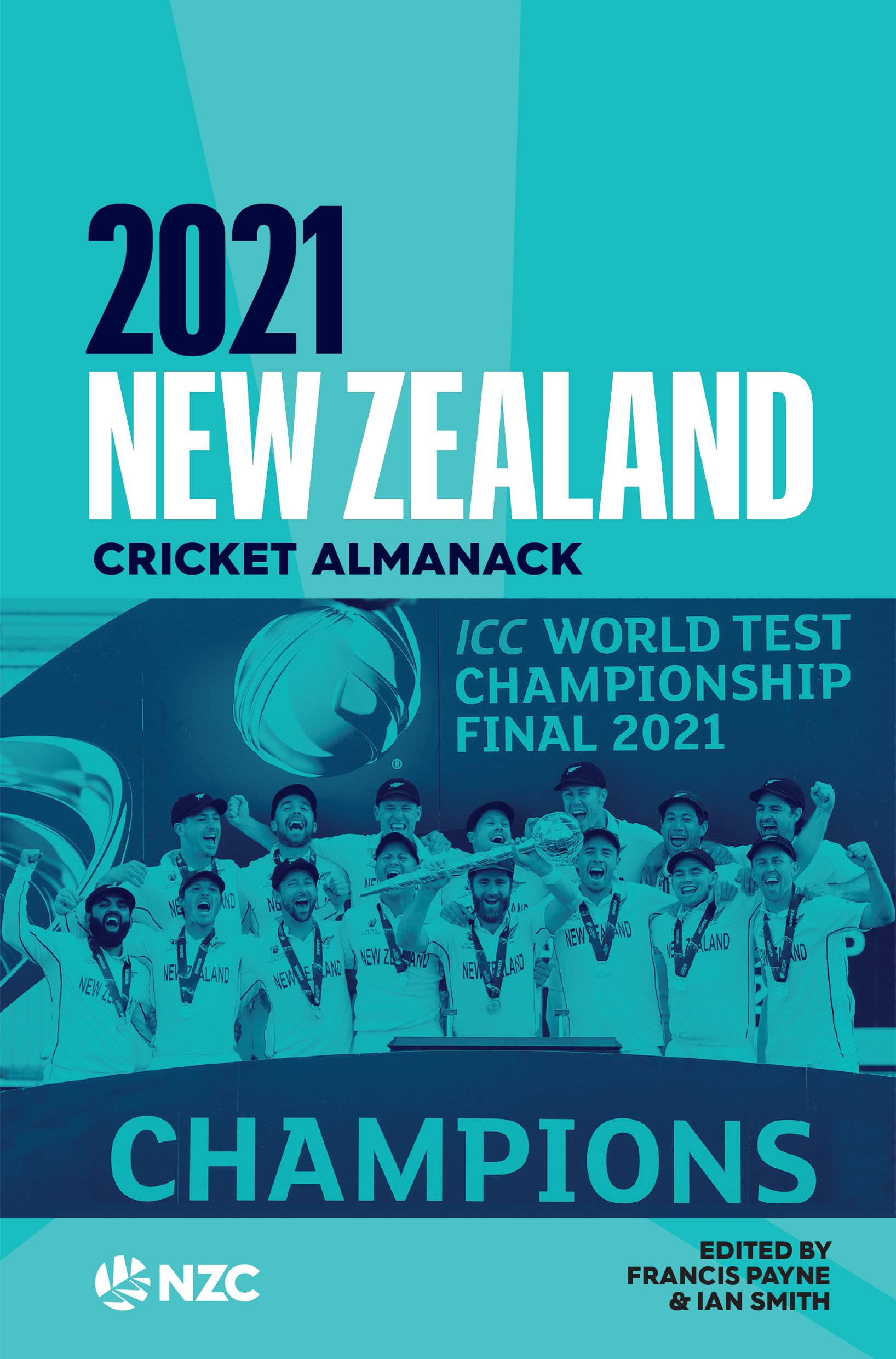 Cover art in two tones of blue, with the word CHAMPIONS written over the outline of a team.