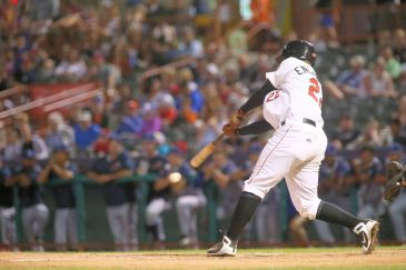 ValleyCats first baseman Luis Encarnacion hits the ball during Thursday night's game. Photo: Robert Dungan/The Upstate Courier