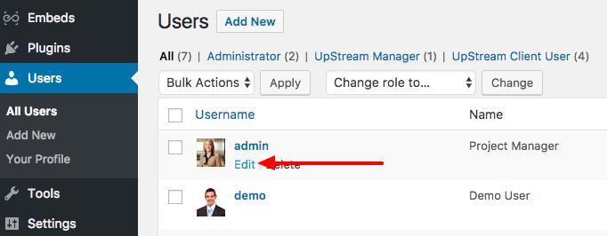 edit WordPress user