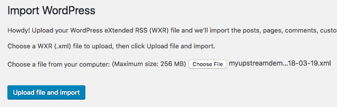 Import an XML file to WordPress