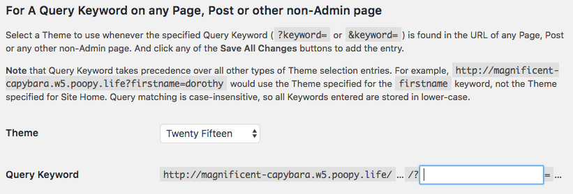 Different theme for WordPress pages with keyword query