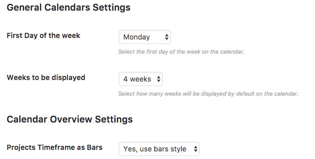 Calendar View Settings screen