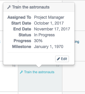 edit options in Calendar View