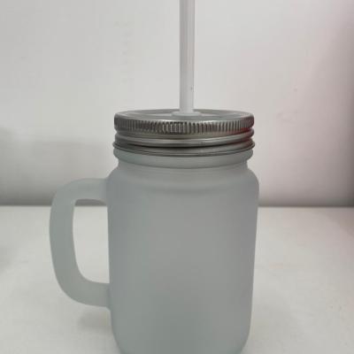 Caneca de Vidro Mason Jar Fosca para Sublimação com Tampa e Canudo Branco - 475ml