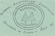 Duhamel Recreation Commission Calendar of Events, July 1975 -Mary Carne files