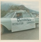 Float entered in Nelson's 1966 midsummer bonspile parade- Bill and Patsy Heddle -Patsy Ormond files