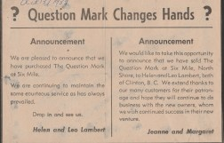 Notice of change of ownership, October 13, 1959 photo credit - Patsy Ormond