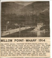 Newspaper clipping-Willow Point Wharf 1914 Mary Carnes files