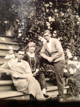 Flora, Alan and John Jr. on the steps of the Gilroy house on Gilroy Rd. - Mags Watkins collection