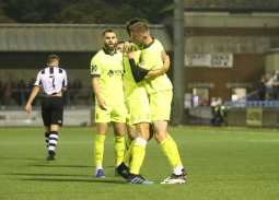 Jake McCarthy celebrates scoring over Dorchester Town