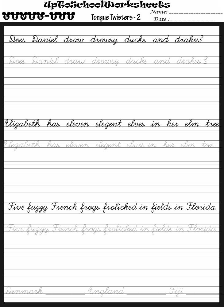 Handwriting Worksheets For Preschools Playschools And