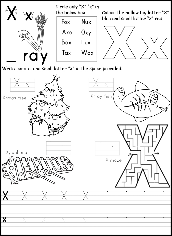 Worksheet For Preschoolers Letter Xx Printables. Worksheet