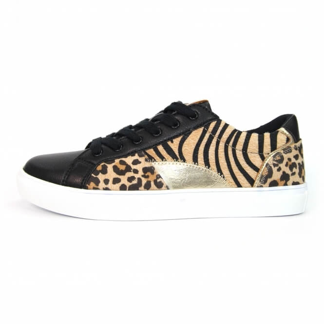 Side view of trainer with animal print detail. Decoration consists of ocelot, tiger and metallic inserts on the upper