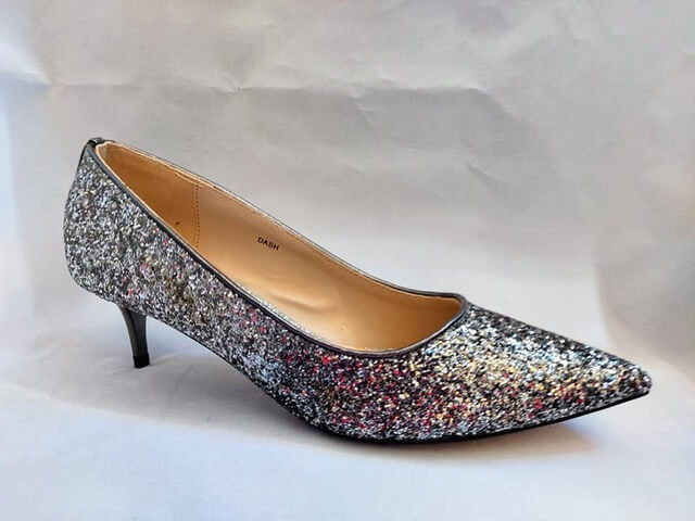 Lunar sparkle kitten heeled court shoe