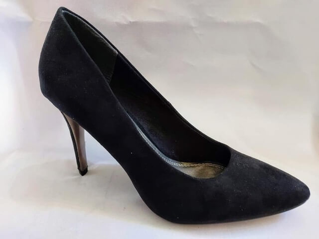 Marco Tozzi black suede high heeled court shoe