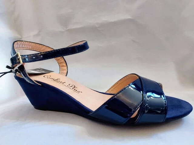 Comfort Plus navy sandal with suede wedge heel and patent crossover straps