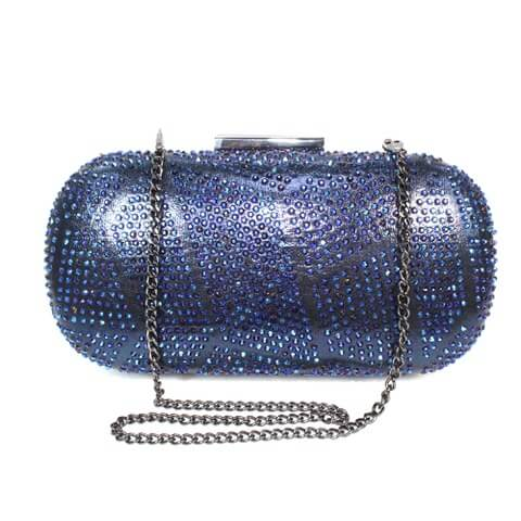 Lunar Francie navy bag shown from front view with chain. The front has a patterned diamante body