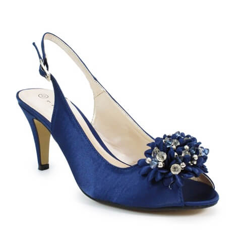 Lunar Sabrina open toed shoes in navy colour. They have a sequined corsage at the front