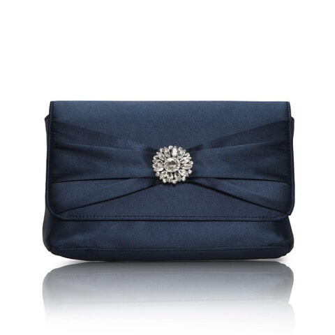 Perfect Bridal satin navy evening bag. Has an elegant gathered front flap with light-catching crystal flower brooch detail
