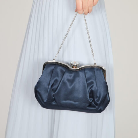 Perfect Bridal navy satin evening bag with a crystal top clasp