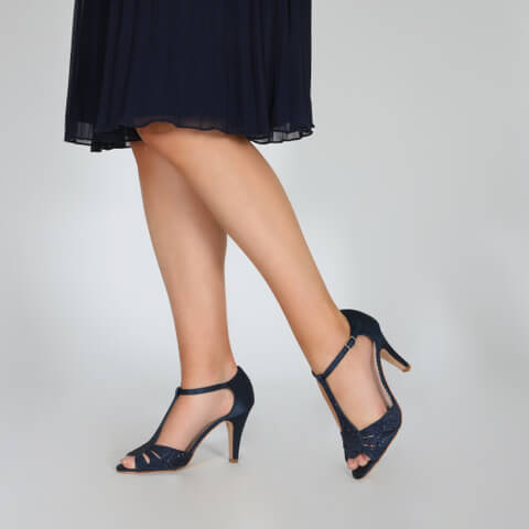 Perfect Bridal navy sparkly crystal encrusted satin high heeled sandals with a slim heel