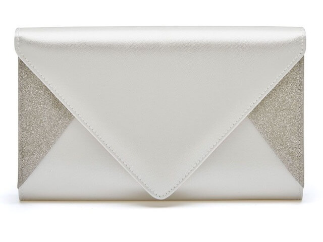 Rainbow Club Diane handbag. Envelope design with ivory satin top and bottom flaps and glittering silver fine shimmer sides
