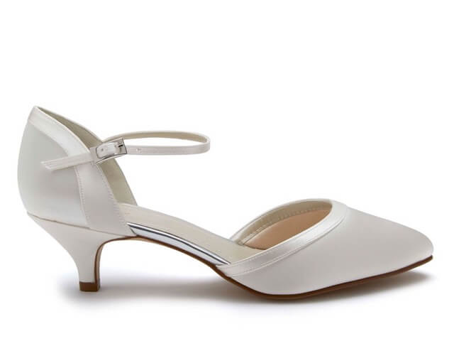 Rainbow Club Brianna ivory satin bridal shoe. Has an almond toe, a chic low heel and delicate ankle strap