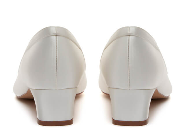 Rainbow Club Giselle ivory satin bridal shoes pictured from the rear