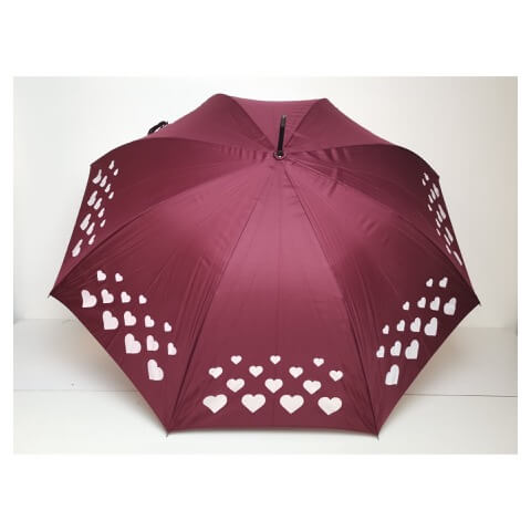 Superbia colour changing burgundy umbrella with love-hearts design