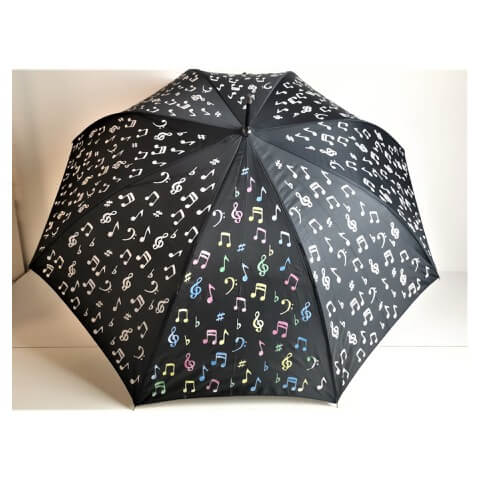 Superbia colour changing black umbrella with musical notes design