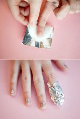 Soak a cotton pad in nail polish remover, wrap it around your nails, seal it with foil. Leave it for 5 minutes and then slide the foil off with the cotton pad. The stubborn nail paint will come off with it.