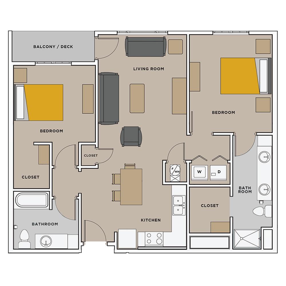 Uptown Landing 2 Bedroom Floorplan