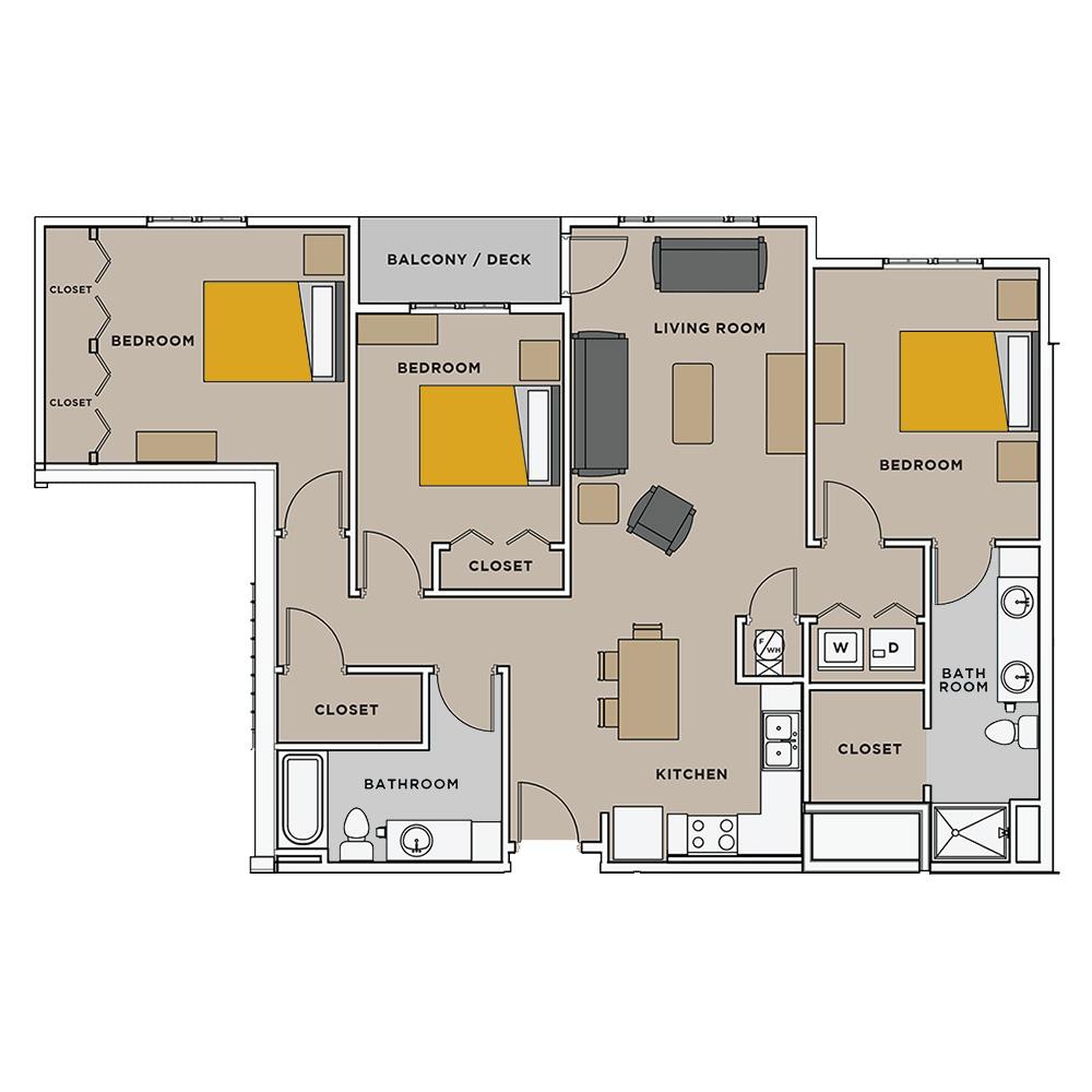 Uptown Landing 3 Bedroom Floorplan