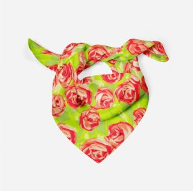 Green and Pink Antique Rose Floral Dog Bandana Main Product Image