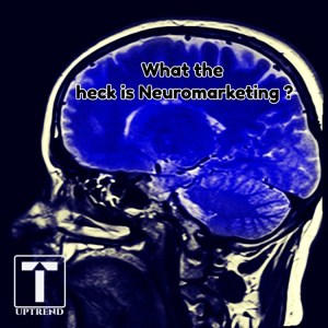 "Cut away view of the brain with ""what the heck is Neuromarketing"""