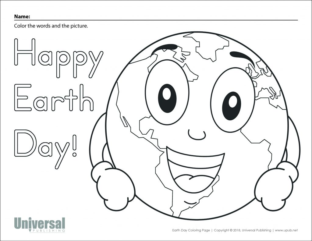 Free Printable for Kids Earth Day Coloring Page