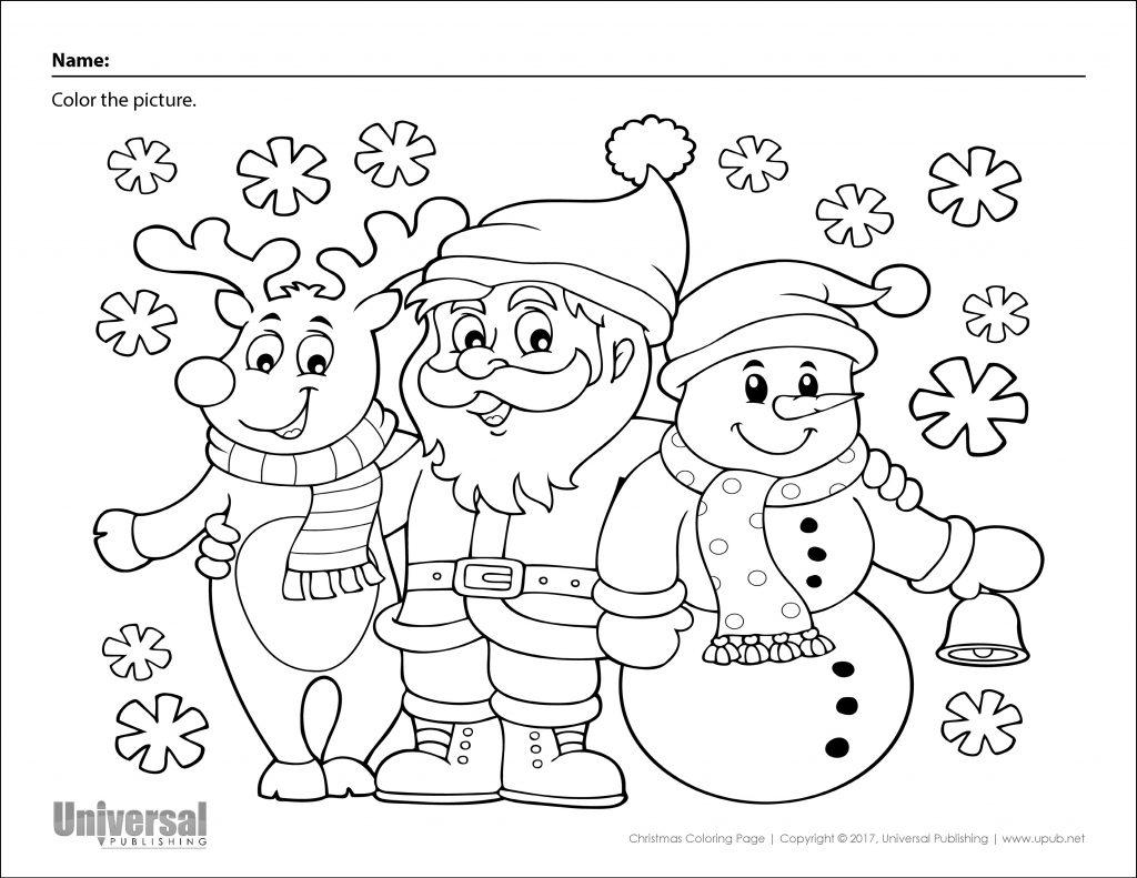 Christmas Coloring Page Santa Reindeer Snowman