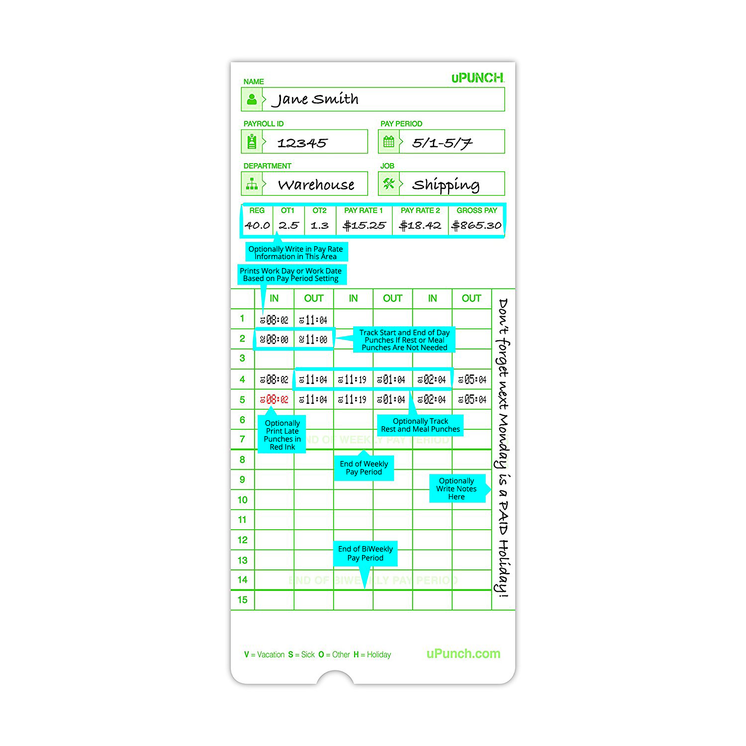 Upunch Time Cards For Green Non Calculating Autoalign Time Clocks Hn