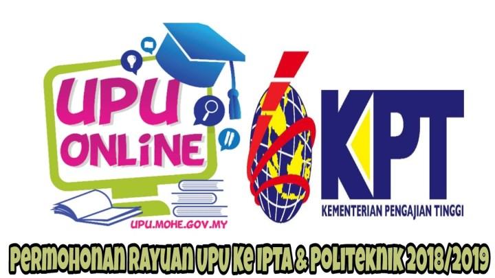Permohonan Rayuan UPU Ke IPTA & Politeknik Sesi 2018/2019 Online