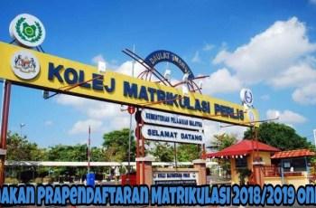 Semakan PraPendaftaran Matrikulasi 2018/2019 Online
