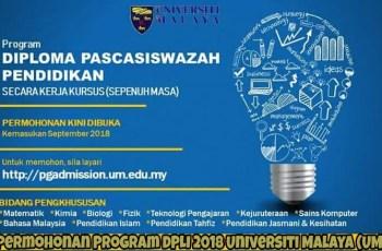 Permohonan Program DPLI 2018 Universiti Malaya (UM)