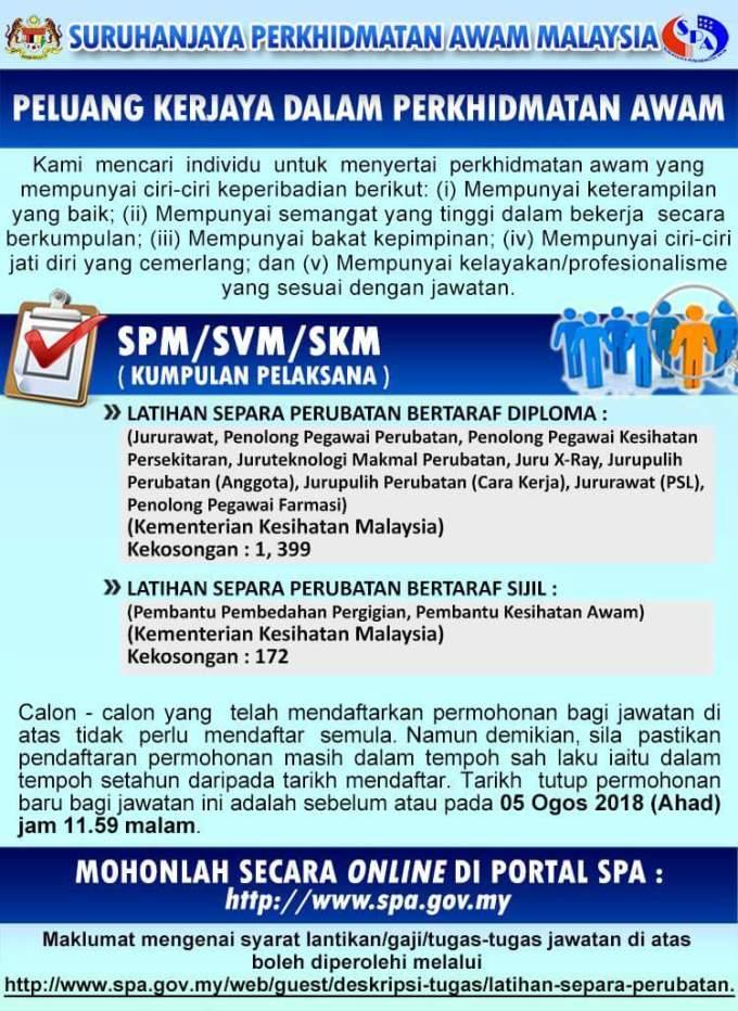 Permohonan Latihan Separa Perubatan 2018 SPA (Bertaraf Sijil & Diploma)