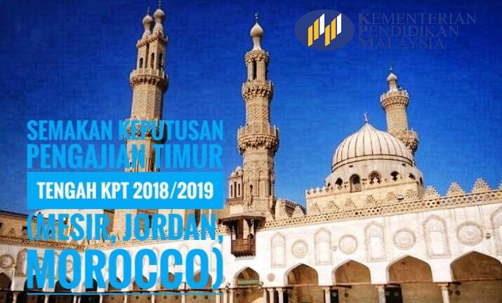 Semakan Keputusan Pengajian Timur Tengah KPT 2018/2019 (Mesir, Jordan, Morocco)