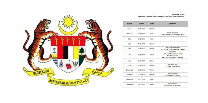 Jadual Gaji Kakitangan Awam 2019