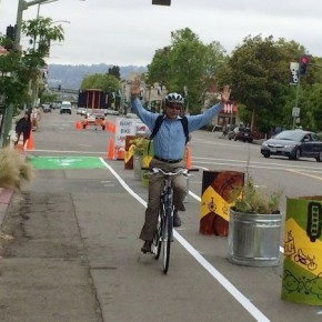 Pop-up protected bike lane in West End